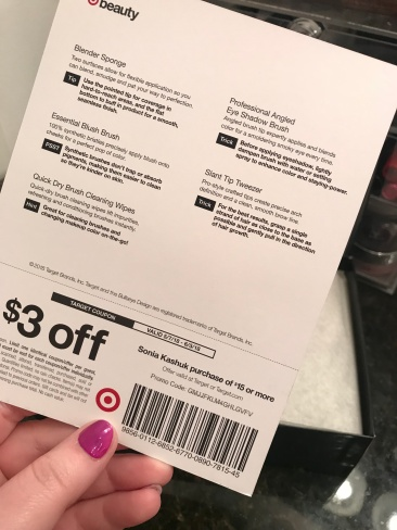 I love that it came with a card listing each product with a description and a coupon at the bottom!